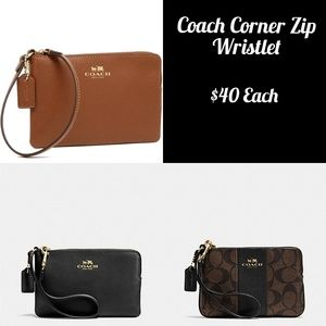 NWT Coach PVC Leather Corner Zip Wristlet $75